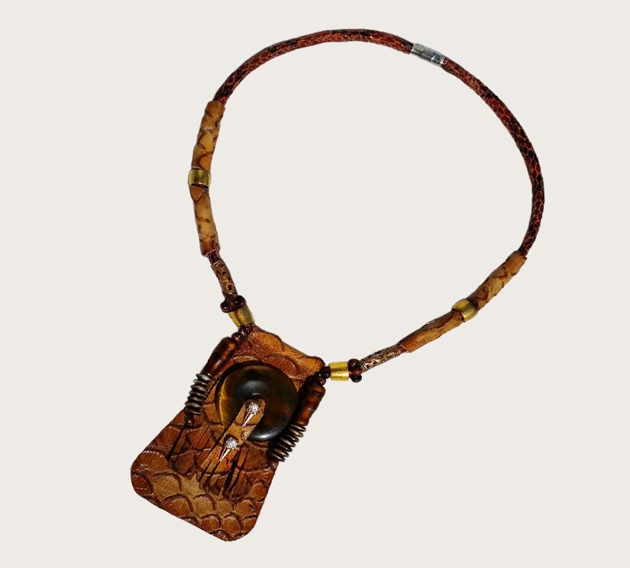 NYKR-1 Kroko tigrisszem talizman nyaklánc