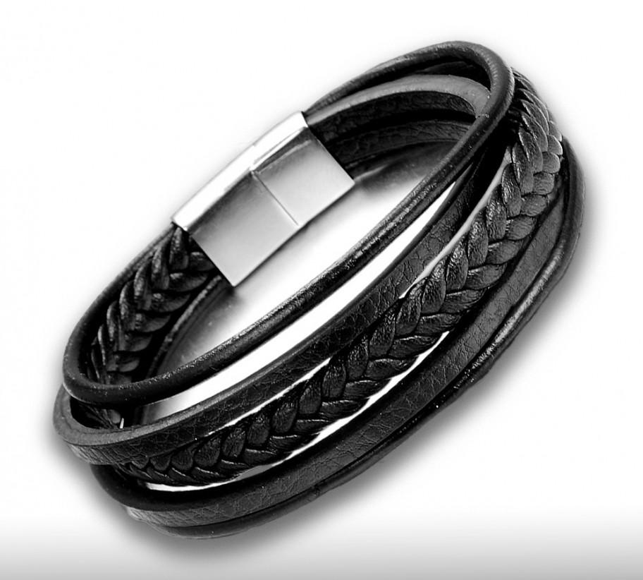 többréteges karkötő fekete