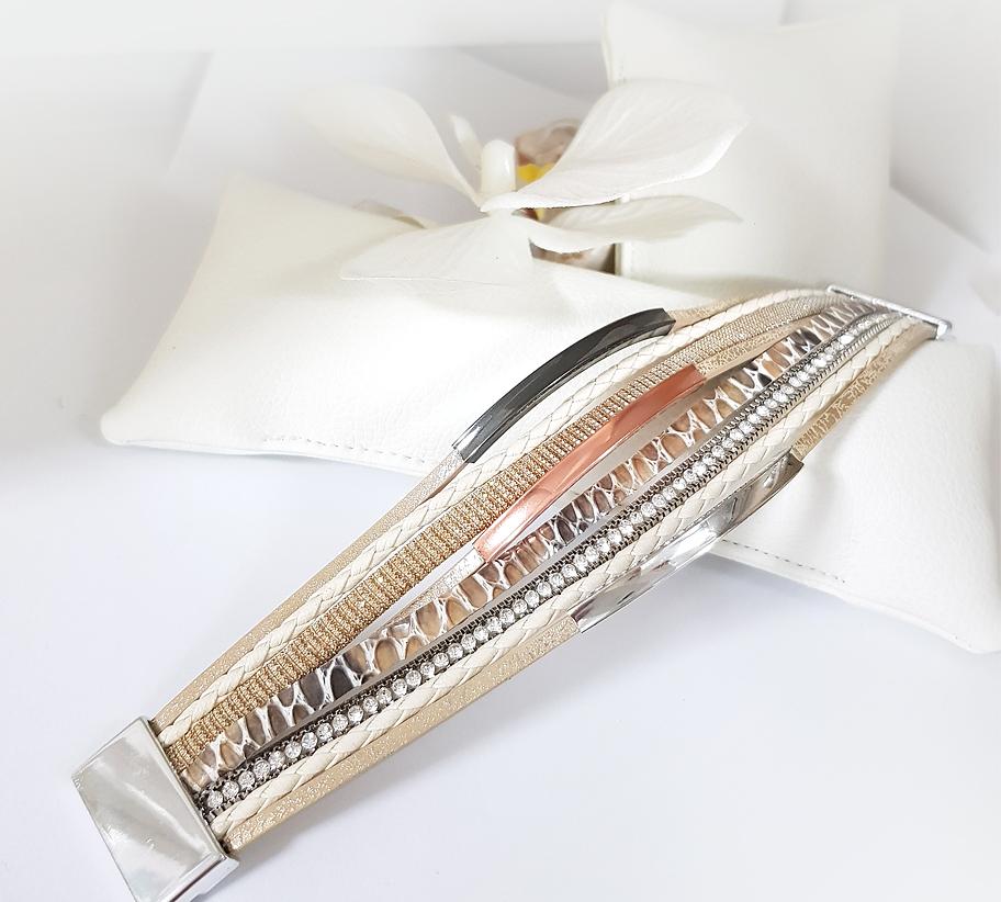 női szálas drapp karkötő