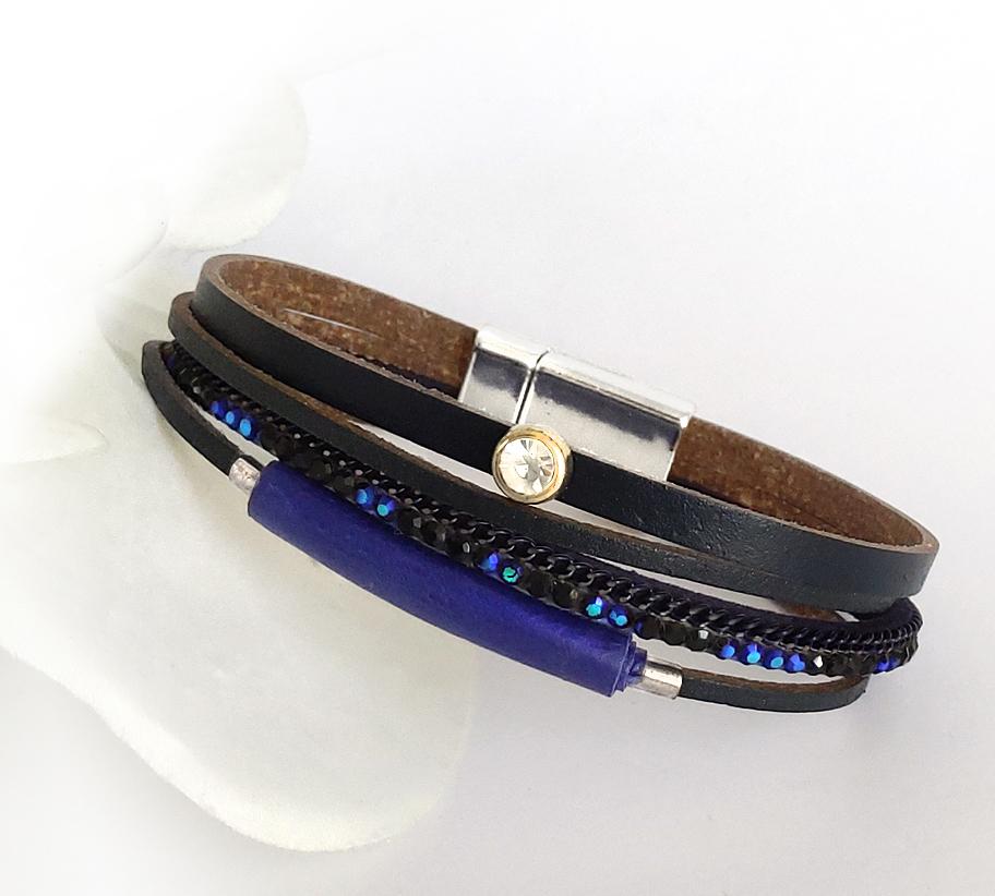 fekete-kék cirkoniaköves bőr karkötő