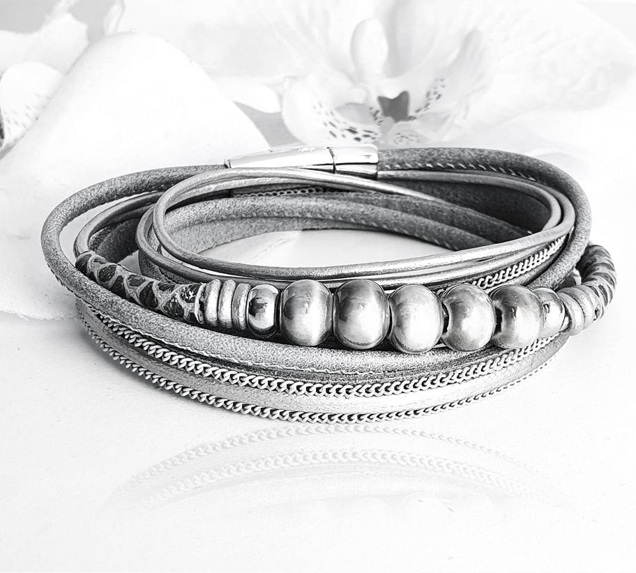 hosszú ezüstszürke többszálas női bőr karkötő_1