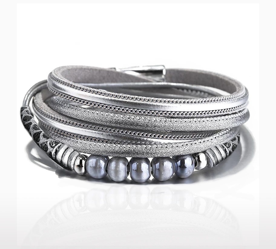 hosszú ezüstszürke többszálas női bőr karkötő_3