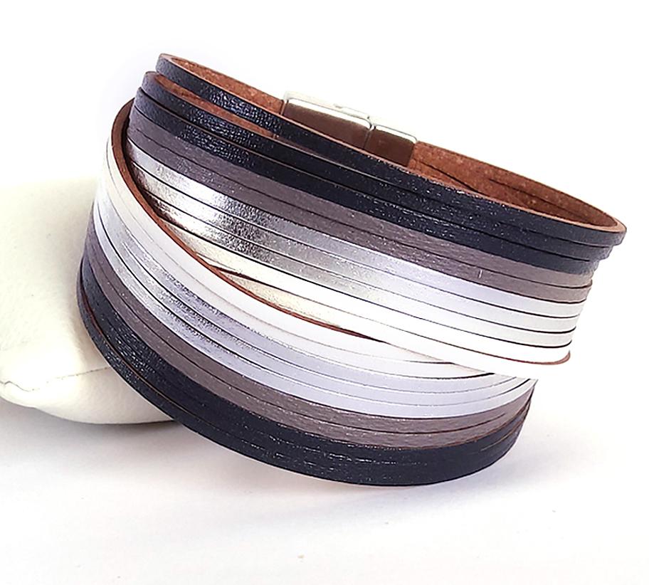szürke-fekete metál szálak bőr női karkötő_4-